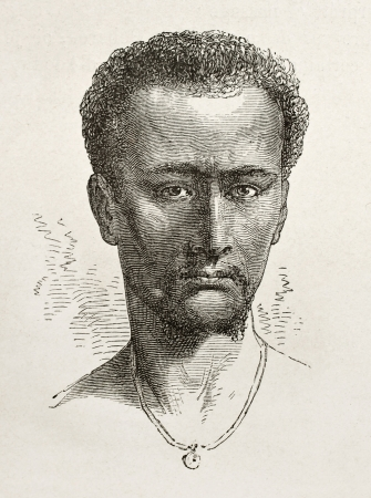 african ancestry: Enticho peasant old engraved portrait (Abyssinia). Created by Bayard after Lejean, published on Le Tour du Monde, Paris, 1867 Editorial
