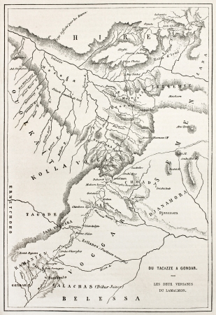 african ancestry: Ethiopia old map, from Gondar to Takeze river. By unidentified author, published on Le Tour du Monde, Paris, 1867 Editorial