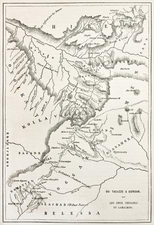 ethiopia: Ethiopia old map, from Gondar to Takeze river. By unidentified author, published on Le Tour du Monde, Paris, 1867 Editorial