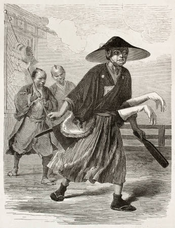 Japanese fencing instructor old engraved portrait. Created by Bayard and Hildibrand after sketch of unknown Japanese author, published on Le Tour du Monde, Paris, 1867  Stock Photo - 15180222