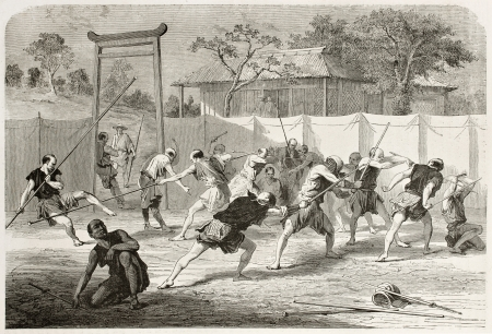 Japanese fencing school old illustration. Created by Bayard after paintings and engravings by unknown Japanese authors, published on Le Tour du Monde, Paris, 1867