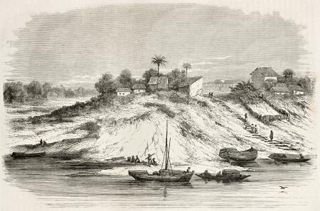 amazonas: Fonte Boa village old view, Brazil. Created by Riou, published on Le Tour du Monde, Paris, 1867 Editorial