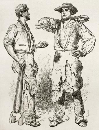 workmen: Forge workmen old illustration. Created by Neuville after Bonhomme, published on Le Tour du Monde, Paris, 186 Editorial