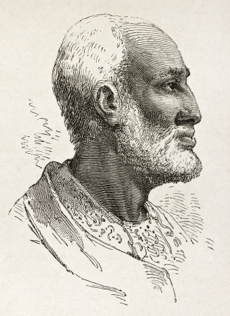 african ancestry: Ouelda Ghiorghis old engraved portrait, notable Abyssinian. Created by Bayard after Lejean, published on Le Tour du Monde, Paris, 1867