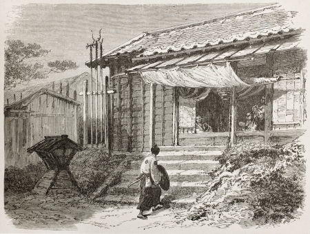 Japanese guard house old illustration. Created by Neuville after Roussin, published on Le Tour du Monde, Paris, 1867 Stock Photo - 15180218