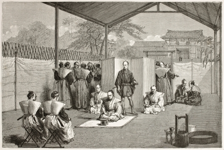 Japanese nobleman sentenced to suicide (Hara Kiri). Created by Crepon after painting by unknown Japanese author, published on Le Tour du Monde, Paris, 1867 Stock Photo - 15180302