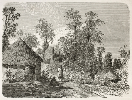 african ancestry: Heroe village near Gafat, Ethiopia. Created by Ciceri after Lejean, published on Le Tour du Monde, Paris, 1867 Editorial