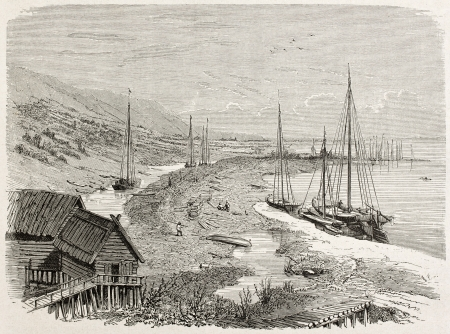 novgorod: Isadij old view, downstream Nizhny Novgorod. Created by Moynet, published on Le Tour du Monde, Paris, 1867