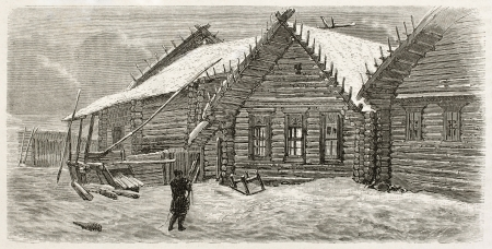 Izba old illustration (traditional Russian house). Created by Moynet, published on Le Tour du Monde, Paris, 1867