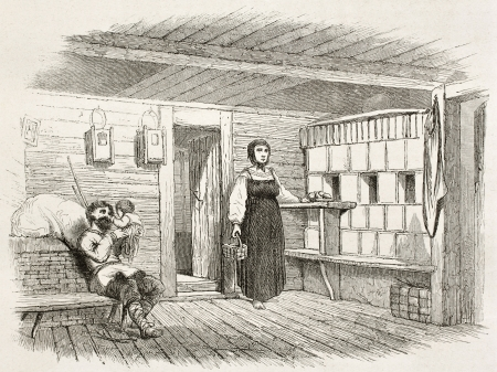 Izba interior old illustration (traditional Russian house). Created by Moynet, published on Le Tour du Monde, Paris, 1867 Stock Photo - 15180328