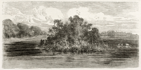 published: Jandiatuba river confluence into Amazon, old view, Brazil. Created by Riou, published on Le Tour du Monde, Paris, 1867