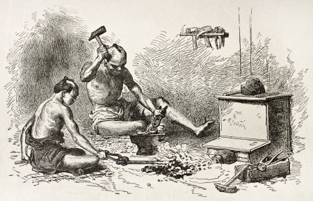 ancient blacksmith: Japanese blacksmith old illustration. Created by Neuville after Japanese drawing of unknown author, published on Le Tour du Monde, Paris, 1867