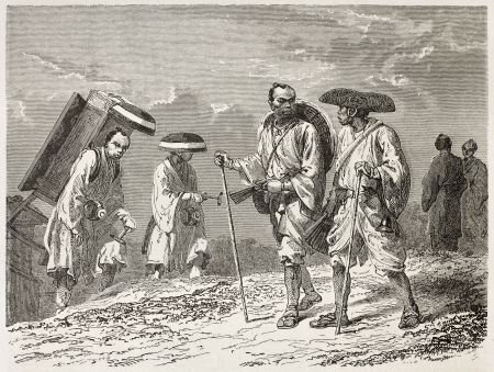 asian ancestry: Japanese civilian, colporters and pilgrims old illustration. Created by Neuville after Japanese sketches of unknown author, published on Le Tour du Monde, Paris, 1867  Editorial