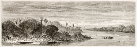 peru amazon: Javary river confluence into Amazon old view, Brazil. Created by Riou, published on Le Tour du Monde, Paris, 1867 Editorial
