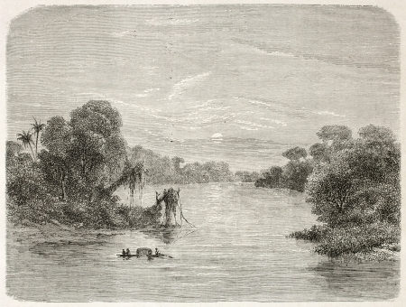 Jurua river confluence into Amazon. Created by Riou, published on Le Tour du Monde, Paris, 1867