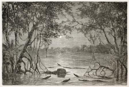 amazonas: Moonlight on Juteca Lake, Brazil. Created by Riou, published on Le Tour du Monde, Paris, 1867 Editorial