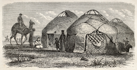 mongols: Kalmyk encampment old illustration, Russia. Created by Moynet, published on Le Tour du Monde, Paris, 1867 Editorial