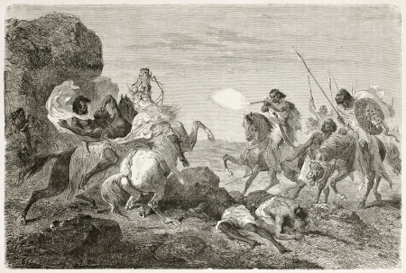ethiopia: British traveller John Bell killed by Abyssinian warriors. Created by Bayard, published on Le Tour du Monde, Paris, 1867