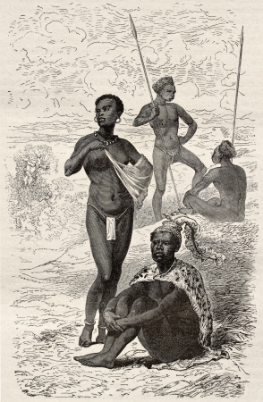 Kytch's tribe chief and his daughter, old engraved portraits (southern Sudan region). Created by Neuville, published on Le Tour du Monde, Paris, 1867 Stock Photo - 15180201