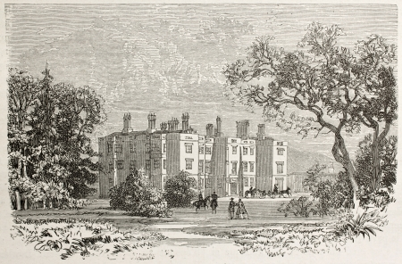 manor: Lanover castle old view, Wales. Created by Grandsire after Erny, published on Le Tour du Monde, Paris, 1867