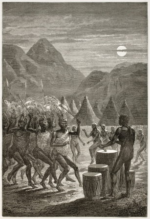 rituals: Night funeral ceremony in Latoukas tribe,  southern Sudan. Created by Neuville, published on Le Tour du Monde, Paris, 1867 Editorial