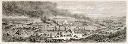 industrial heritage: Le Creusot old view, France1847. Created by Lancelot after Bonhomme, published on Le Tour du Monde, Paris, 1867