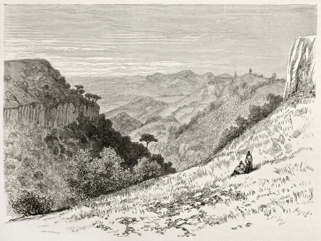 african ancestry: Limadou old view, Abyssinia. Created by Ciceri after Lejean, published on Le Tour du Monde, Paris, 1867