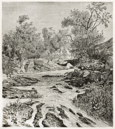 african ancestry: Lisara river old view, Abyssinia. Created by Ciceri after Lejean, published on Le Tour du Monde, Paris, 1867