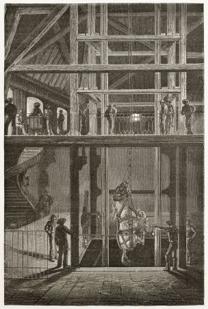 lowering: Lowering an horse into a cool mine, old illustration (Le Creusot, France). Created by Neuville after Bonhomme, published on Le Tour du Monde, Paris, 1867
