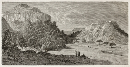 african ancestry: Makar old view, Abyssinia. Created by Ciceri after Lejean, published on Le Tour du Monde, Paris, 1867 Editorial