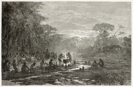 Masaya indigenous coocking old illustration, Amazonas. Created by Riou, published on Le Tour du Monde, Paris, 1867