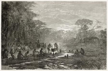 amazonas: Masaya indigenous coocking old illustration, Amazonas. Created by Riou, published on Le Tour du Monde, Paris, 1867