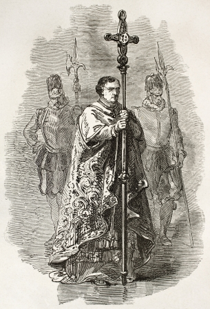 Vatican crucifix bearer. Created by Neuville, published on Le Tour du Monde, Paris, 1867 Stock Photo - 15180248