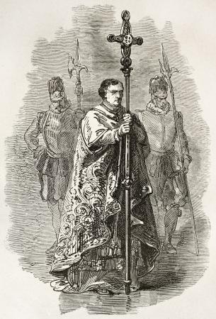 liturgy: Vatican crucifix bearer. Created by Neuville, published on Le Tour du Monde, Paris, 1867