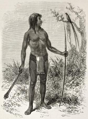 loincloth: Mesaya native old engraved portrait, Brazil. Created by Riou, published on Le Tour du Monde, Paris, 1867