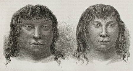 Miranha indigenous old engraved portraits, Brazil. Created by Riou, published on Le Tour du Monde, Paris, 1867 Stock Photo - 15180211