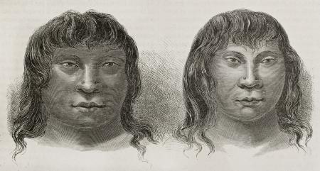 Miranha indigenous old engraved portraits, Brazil. Created by Riou, published on Le Tour du Monde, Paris, 1867 Stock Photo - 15180211
