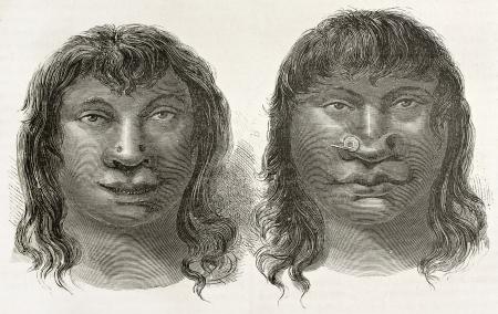 amazonas: Miranha indigenous old engraved portraits, Brazil. Created by Riou, published on Le Tour du Monde, Paris, 1867