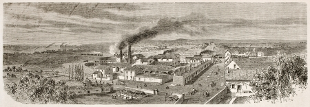 old mining building: Montchanin old view, France. Created by Therond after Bonhomme, published on Le Tour du Monde, Paris, 1867