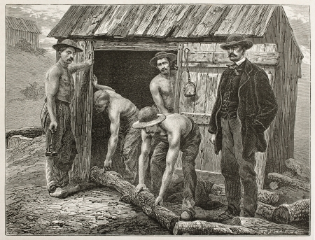 Miners taking trunks to support Montchanin mine tunnel. Created by Neuville after photo by unknown author, published on Le Tour du Monde, Paris, 1867 Stock Photo - 15180283