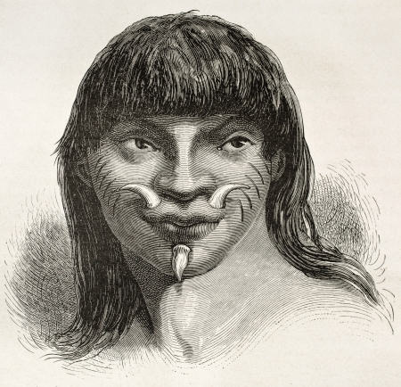 ethnology: Mura indian old engraved portrait, Brazil. Created by Riou, published on Le Tour du Monde, Paris, 1867