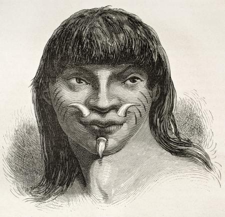 the tribe: Mura indio viejo retrato grabado, Brasil. Creado por Riou, publicado en Le Tour du Monde, Par�s, 1867