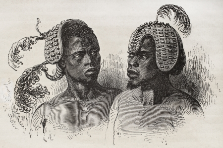 African Obbos people headgears old illustration. Created by Neuville, published on Le Tour du Monde, Paris, 1867