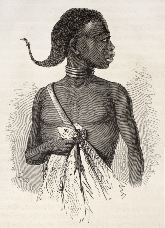 ancestry: African Obbos royal prince. Created by Neuville, published on Le Tour du Monde, Paris, 1867 Editorial