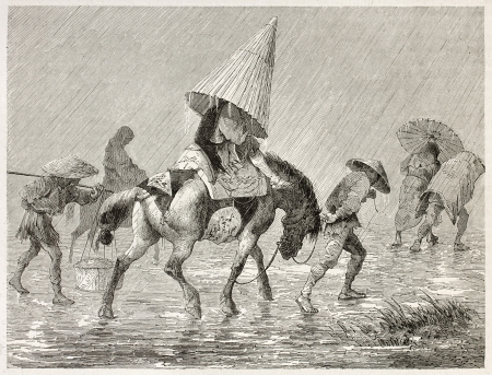 Japanese pack horse under the rain, old illustration. Created by Bayard after Japanese sketches by unknown authors, published on Le Tour du Monde, Paris, 1867