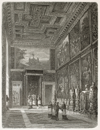 papal audience: Papal audience in the Hall of the Throne in Vatican city, old illustration. Created by Clerget after photo of unknown author, published on Le Tour du Monde, Paris, 1867