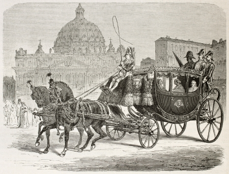 horse and carriage: Papal carriage old illustration. Created by Bayard after Ulmann, published on Le Tour du Monde, Paris, 1867