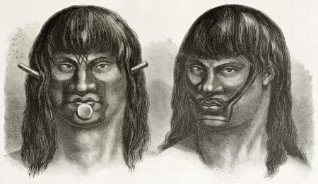 rio amazonas: Pases y Juris indígena, viejos retratos grabados (las tribus del noreste de Brasil, hoy extinto). Creado por Riou, publicado en Le Tour du Monde, París, 1867