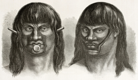 amazonas: Passes and Juris indigenous, old engraved portraits (north-eastern Brazil tribes, today extinct). Created by Riou, published on Le Tour du Monde, Paris, 1867