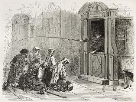 Penance old illustration. Created by Neuville after Ulmann, published on Le Tour du Monde, Paris, 1867 Editorial